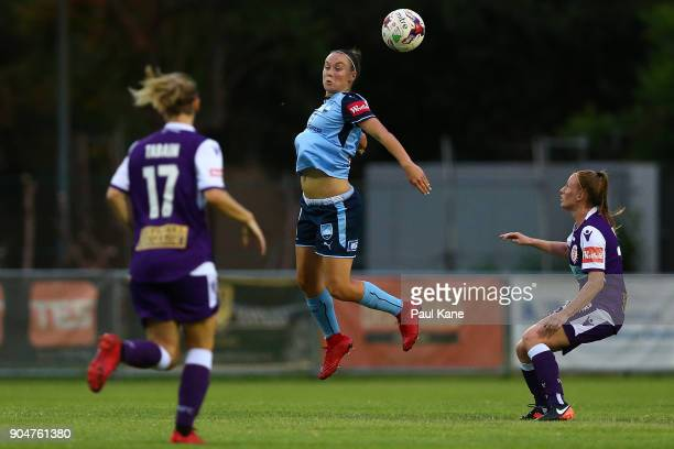 Caitlin Foord of Sydney heads the ball during the round 11 WLeague match between the Perth Glory and Sydney FC at Dorrien Gardens on January 14 2018...