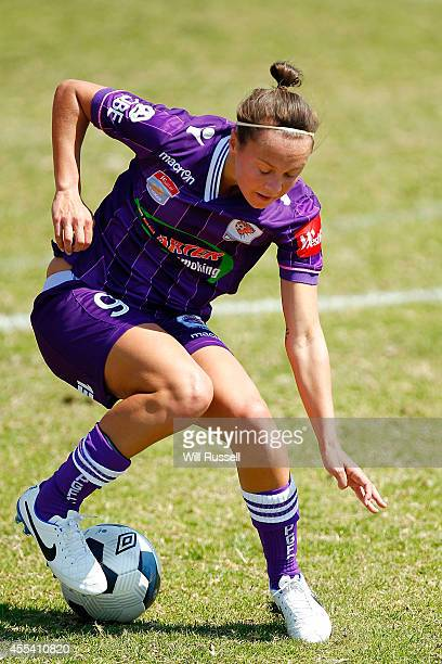 Caitlin Foord of the Glory controls the ball during the round one WLeague match between the Perth Glory and the Brisbane Roar at Ashfield Sports Club...