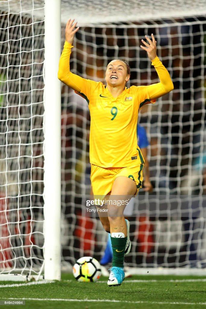 Caitlin Foord of the Matildas celebrates a goal during the Women's International match between the Australian Matildas and Brazil at McDonald Jones Stadium on September 19, 2017 in Newcastle, Australia.