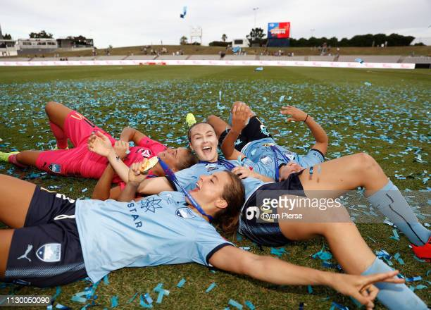 Caitlin Foord, Sofia Huerta, Aubrey Bledsoe and Danielle Colaprico of Sydney FC celebrate victory after the W-League Grand Final match between Sydney...