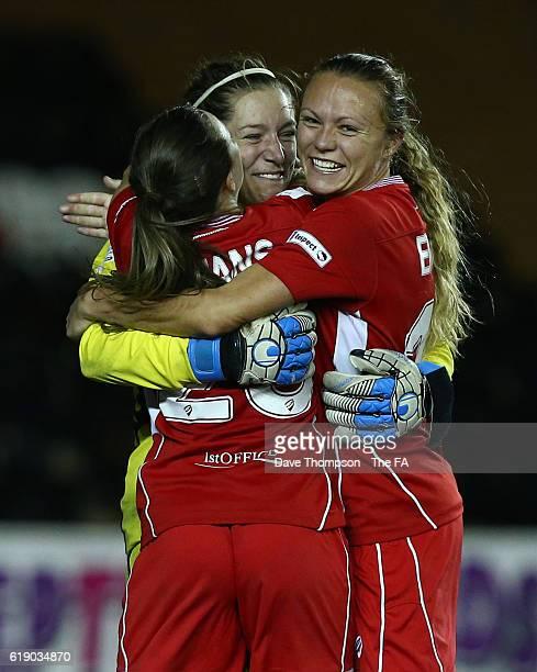 Caitlin Leach of Bristol City Women celebrates with Georgia Evans of Bristol City Women, left, and Claire Emslie of Bristol City Women after her late...