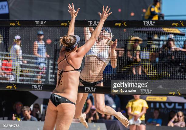 Caitlin Ledoux goes up late for a block against Emily Day in the women's Finals of the AVP Pro Beach Volleyball Tour on Sunday July 8 2018 at Pier 32...