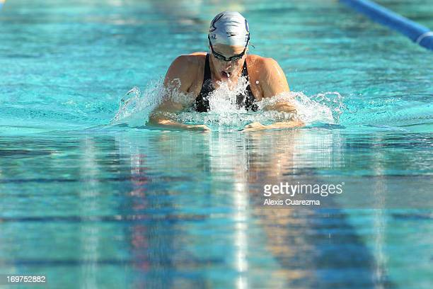 Caitlin Leverenz competes in the women's 200 meter breaststroke on Day Two of the Santa Clara International Grand Prix at the George F Haines...