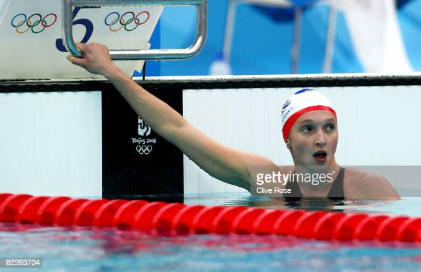 Caitlin Mcclatchey of Great Britain finishes the Women's 200m Freestyle Semifinal 2 in third place held at the National Aquatics Center during Day 4...