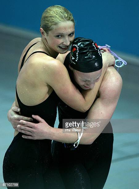 Caitlin McClatchey of Scotland is congratulated by a fellow competitor Melanie Marshall of England after winning the women's 200m freestyle final...