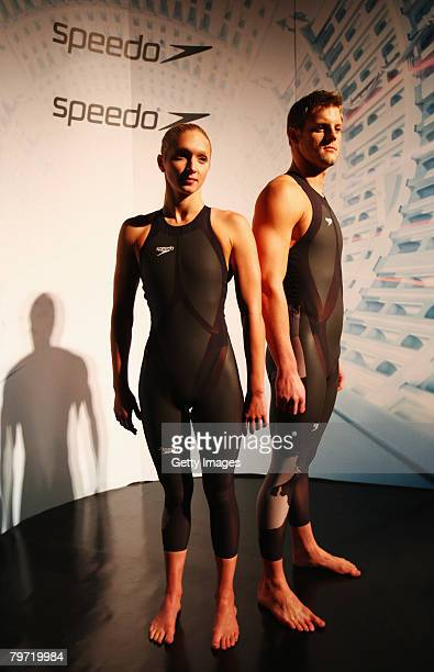 Caitlin McClatchley and Liam Tancock of Great Britain model the new Speedo LZR Racer suit at its launch at The Gymnasium on February 12, 2008 in...