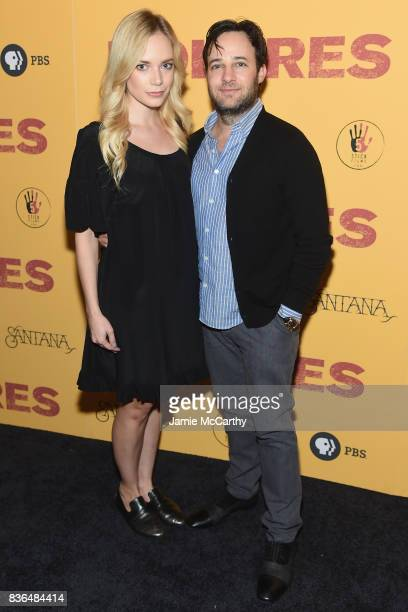 Caitlin Mehner and Danny Strong attend the 'Dolores' New York Premiere at The Metrograph on August 21 2017 in New York City