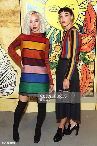 Caitlin Moe and Mia Moretti attend the Alice Olivia by Stacey Bendet Spring/Summer 2017 Presentation during New York Fashion Week September 2016 at...