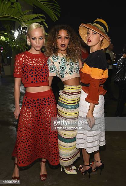 Caitlin Moe Cleo Wade and Mia Moretti attend Paper Magazine Sprout By HP DKNY Break The Internet Issue Release at 1111 Lincoln Road on December 4...