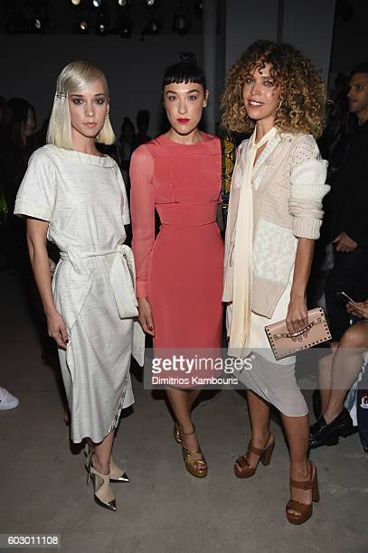 Caitlin Moe Mia Moretti and Cleo Wade attend the Prabal Gurung fashion show during New York Fashion Week The Shows September 2016 at The Gallery...