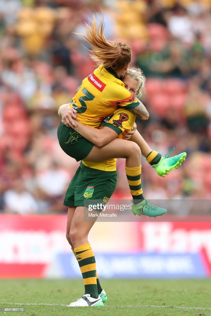 Caitlin Moran of the Jillaroos celebrates with team mates after winning the 2017 Rugby League Women's World Cup Final between Australia and New Zealand at Suncorp Stadium on December 2, 2017 in Brisbane, Australia.