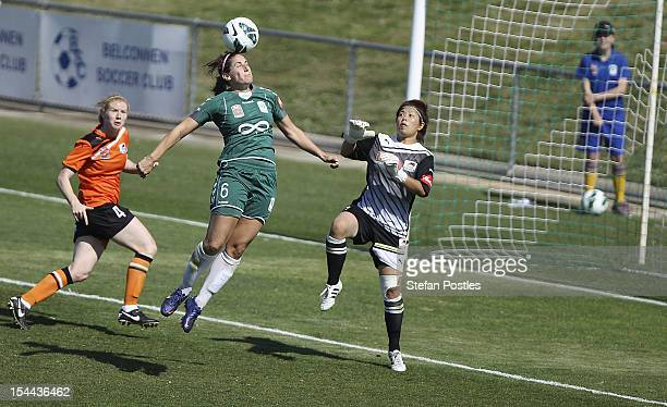 Caitlin Munoz of Canberra United attempts to head a goal during the round one WLeague match between Canberra United and the Brisbane Roar at McKellar...