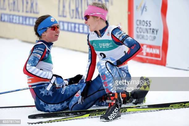 Caitlin Patterson of United States and Elizabeth Stephen of United States react after the Ladies Skiathlon during the FIS CrossCountry World Cup...