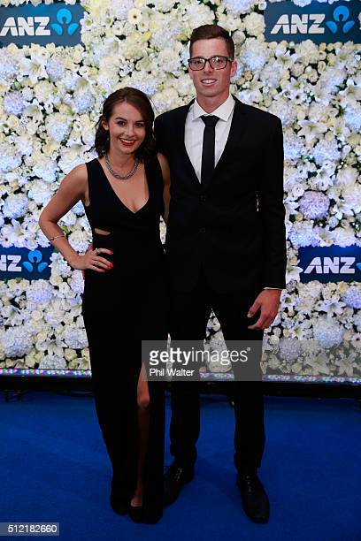 Caitlin Podunski and Mitchell Santner pose ahead of the 2016 New Zealand cricket awards at the Viaduct Events Centre on February 25 2016 in Auckland...