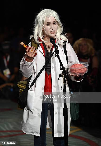 Caitlin Steinman of California dressed as the character 'Liv Moore' asks the panel a question at the 'iZombie' special video presentation and QA...