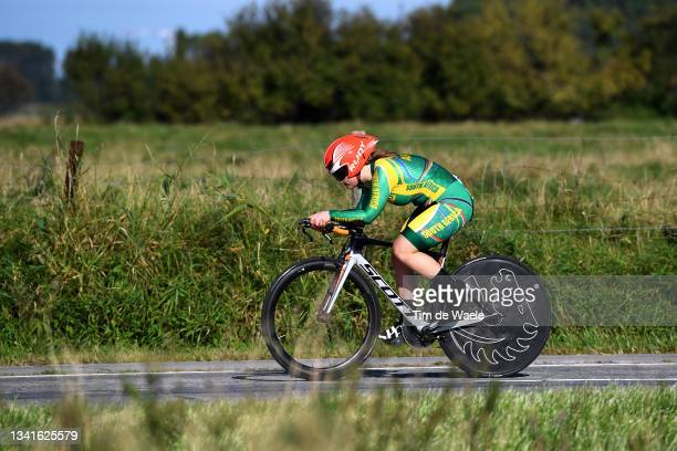 Caitlin Thompson of South Africa sprints during the 94th UCI Road World Championships 2021 - Women Junior ITT a 19,3km Individual Time Trial race...