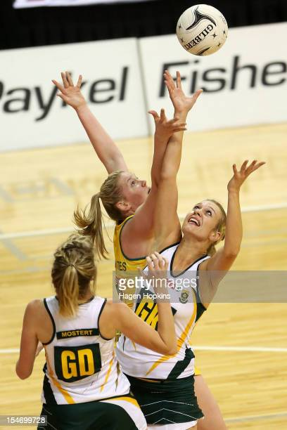 Caitlin Thwaites of Australia and Vanesmari Du Toit of South Africa compete for the ball during the Quad Series match between the Australian Diamonds...