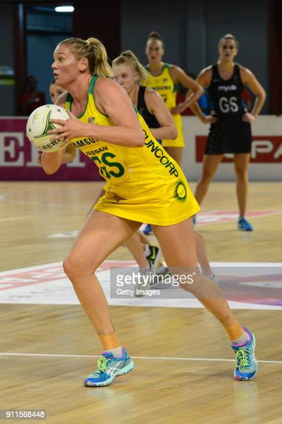 Caitlin Thwaites of Australia during the Netball Quad Series match between New Zealand and Australia at Ellis Park Arena on January 28 2018 in...