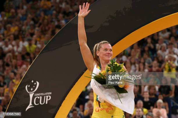 Caitlin Thwaites of Australia farewells the spectators after playing her final international match during the 2019 Constellation Cup match between...