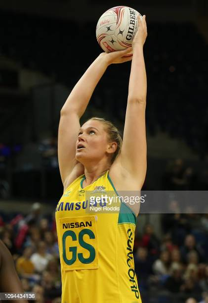 Caitlin Thwaites of Australia in action during the Vitality Netball International Series match between South Africa and Australian Diamonds as part...