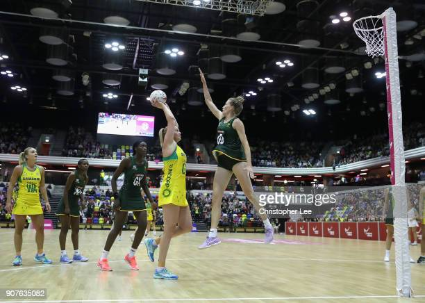 Caitlin Thwaites of Australia shoots as Karla Pretorius of South Africa tries to block during the Netball Quad Series Vitality Netball International...