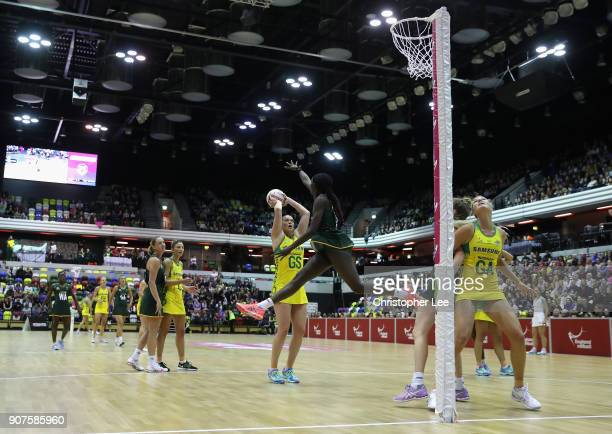 Caitlin Thwaites of Australia shoots as Phumza Maweni of South Africa tries to block during the Netball Quad Series Vitality Netball International...