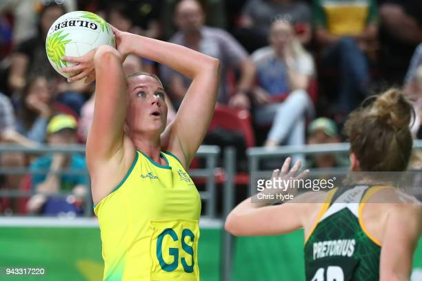 Caitlin Thwaites of Australia shoots during the Netball match between Australia and South Africa on day four of the Gold Coast 2018 Commonwealth...
