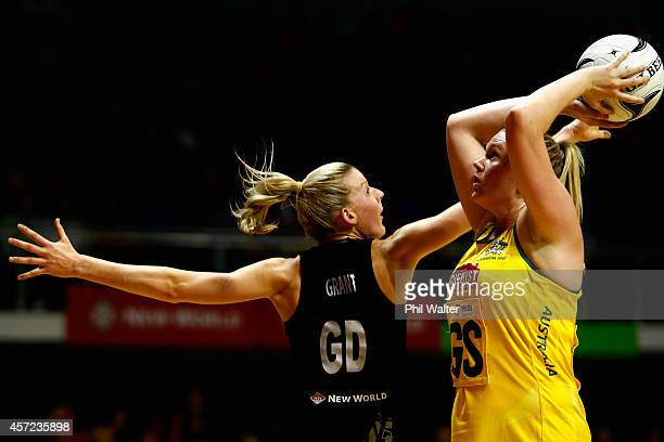 Caitlin Thwaites of Australia shoots over Katrina Grant of New Zealand during the International Test match between the New Zealand Silver Ferns and...