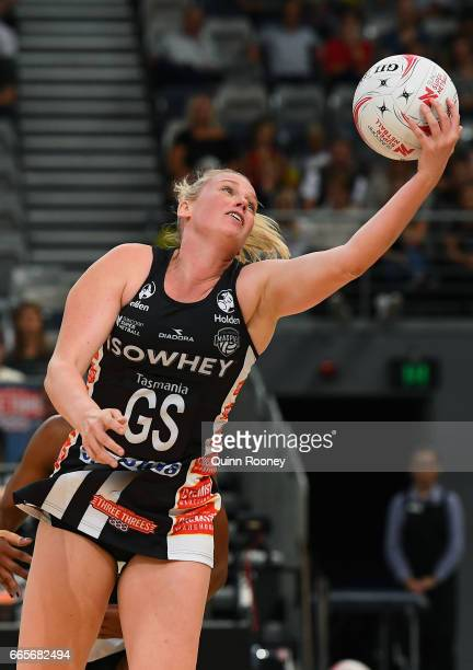 Caitlin Thwaites of the Magpies catches the ball during the round eight Super Netball match between the Magpies and Fever at Hisense Arena on April 7...