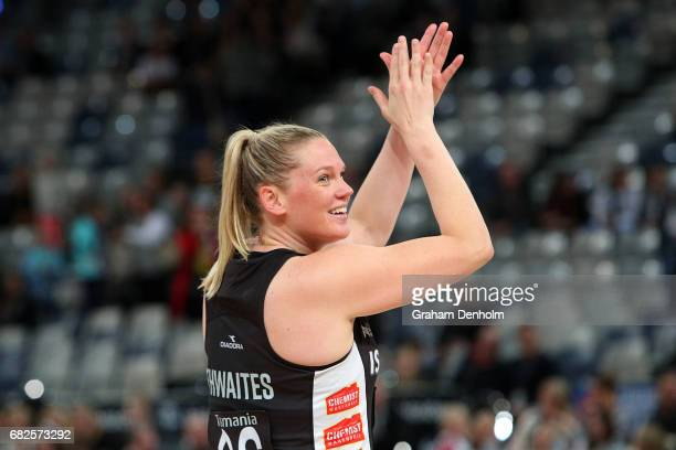 Caitlin Thwaites of the Magpies celebrates victory in the round 12 Super Netball match between the Magpies and the Swifts at Hisense Arena on May 13...