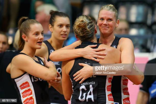 Caitlin Thwaites of the Magpies embraces teammate Cody Lange after the round six Super Netball match between the Swifts and the Magpies at Sydney...