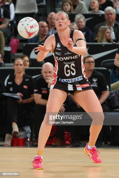 Caitlin Thwaites of the Magpies passes during the round 12 Super Netball match between the Magpies and the Swifts at Hisense Arena on May 13 2017 in...