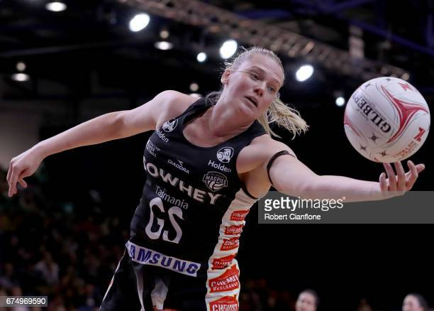 Caitlin Thwaites of the Magpies reaches for the ball during the round 10 Super Netball match between the Magpies and the Firebirds at the Silverdome...