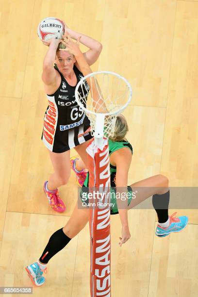 Caitlin Thwaites of the Magpies shoots during the round eight Super Netball match between the Magpies and Fever at Hisense Arena on April 7, 2017 in...