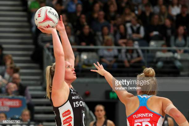 Caitlin Thwaites of the Magpies shoots under pressure during the round 12 Super Netball match between the Magpies and the Swifts at Hisense Arena on...