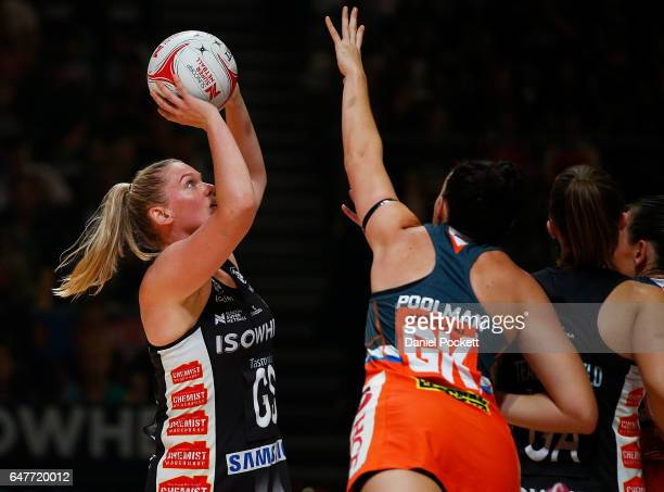 Caitlin Thwaites of the Magpies takes a shot during the round three Super Netball match between the Magpies and the Giants at Hisense Arena on March...