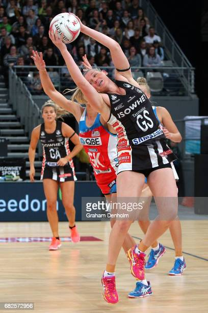 Caitlin Thwaites of the Magpies wins the ball in the air during the round 12 Super Netball match between the Magpies and the Swifts at Hisense Arena...