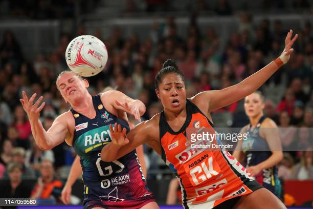 Caitlin Thwaites of the Vixens and Kristiana Manu'a of the Giants compete for the ball during the round two Super Netball match between the Melbourne...
