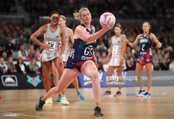 Caitlin Thwaites of the Vixens competes for the ball during the round 7 Super Netball match between the Vixens and the Magpies at Melbourne Arena on...