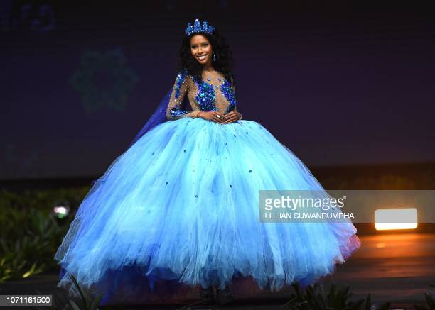 Caitlin Tyson Miss Cayman Islands 2018 walks on stage during the 2018 Miss Universe national costume presentation in Chonburi province on December 10...