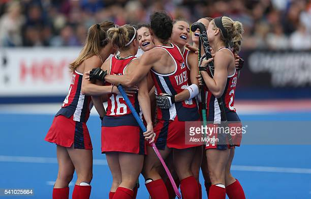 Caitlin van Sickle of USA celebrates after scoring their second goal during the FIH Women's Hockey Champions Trophy match between USA and Australia...