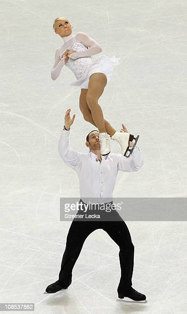 Caitlin Yankowskas and John Coughlin compete in the Championship Pairs Free Skate during the US Figure Skating Championships at the Greensboro...
