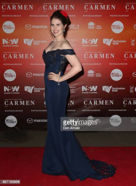 Caitlyn Berry arrives ahead of opening night of Handa Opera's production of Carmen at Sydney Harbour on March 24 2017 in Sydney Australia