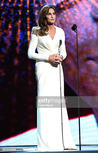 Caitlyn Jenner accepts Arthur Ashe Courage Award and speaks onstage during The 2015 ESPYS at Microsoft Theater on July 15 2015 in Los Angeles...