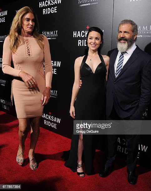 Caitlyn Jenner actor Mel Gibson and Rosalind Ross arrive at the screening of Summit Entertainment's 'Hacksaw Ridge' at Samuel Goldwyn Theater on...