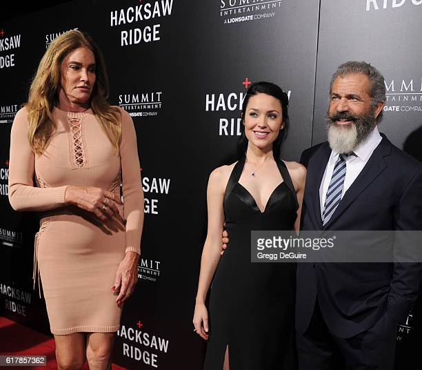 Caitlyn Jenner actor Mel Gibson and Rosalind Ross arrive at the screening of Summit Entertainment's Hacksaw Ridge at Samuel Goldwyn Theater on...