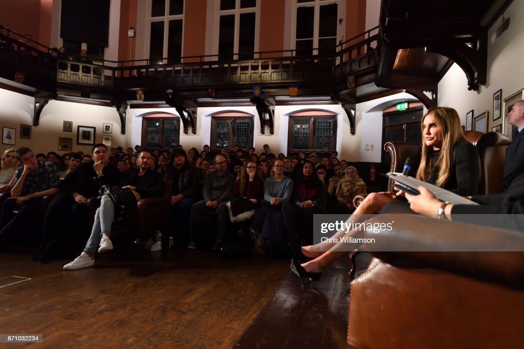 Caitlyn Jenner addresses students at The Cambridge Union on November 6, 2017 in Cambridge, Cambridgeshire.