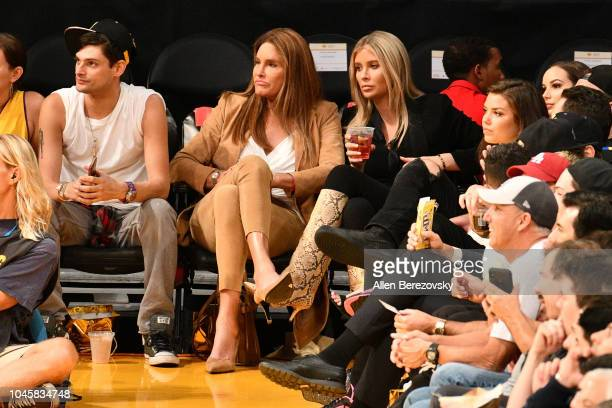 Caitlyn Jenner and Sophia Hutchins attend a basketball game between the Los Angeles Lakers and the Sacramento Kings at Staples Center on October 4...