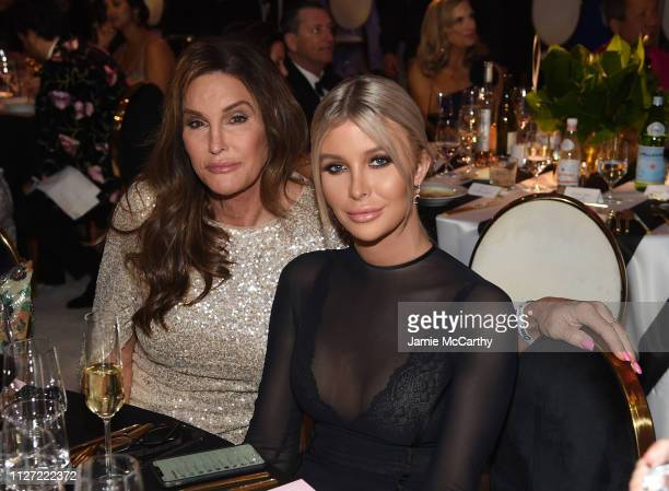 Caitlyn Jenner and Sophia Hutchins attend the 27th annual Elton John AIDS Foundation Academy Awards Viewing Party sponsored by IMDb and Neuro Drinks...