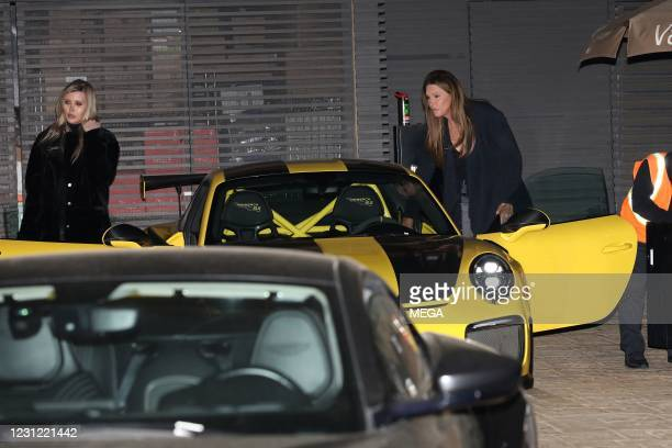 Caitlyn Jenner and Sophia Hutchins dine at Nobu on February 16, 2021 in Los Angeles, California.